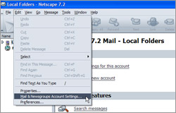 Selecting Mail & Newsgroups Account Settings from the Edit menu