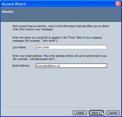 Inputting a display name and email address