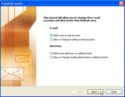 Email Accounts wizard: Add a new e-mail account is selected and mouse cursor is hovering over Next